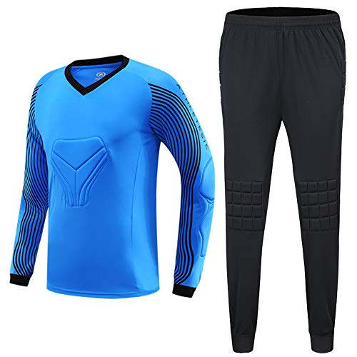 Shinestone Men's Goalkeeper Armor BodyShield Padded Jersey with Sponge Protector for Football Baseball,etc (Blue, Large)
