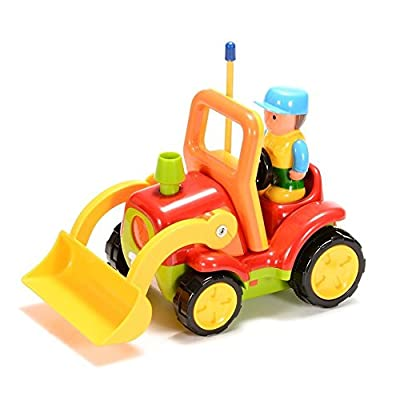 Haktoys My First RC Cartoon Loader Bulldozer Construction Truck with Music Button & LED Headlight | Safe & Durable | Learning to Drive Car Great Gift Radio Control Toy for Toddlers, Kids, Boys & Girls: Toys & Games