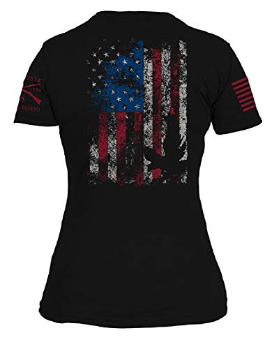 Grunt Style Freedom Flag Women's T-Shirt, Color Black, Size Large