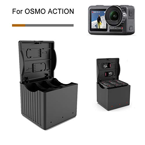 - Sodoop Battery Charger for DJI Osmo Action Camera, Portable Outdoor 3 in 1Intelligent Storage Type Battery Charging,2A Quick Charger for DJI OSMO Action 4K Camera