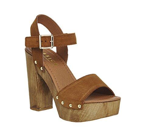 Unbekannt - Zapatos de vestir para mujer Tan Cow Suede