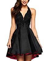 Yilis A line Satin with Lace Applique Party Prom Dress Short Homecoming Dress