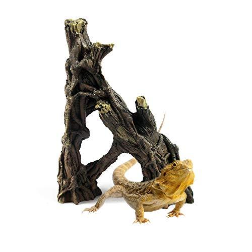 Reptile Terrarium Decor Resin Driftwood Decoration Artificial Climbing Branches Tank Ornament Aquarium Hideout Habitat for Small Chameleons Turtles Lizards Spiders Scorpions Snakes and Salamanders (Reptile Decor)