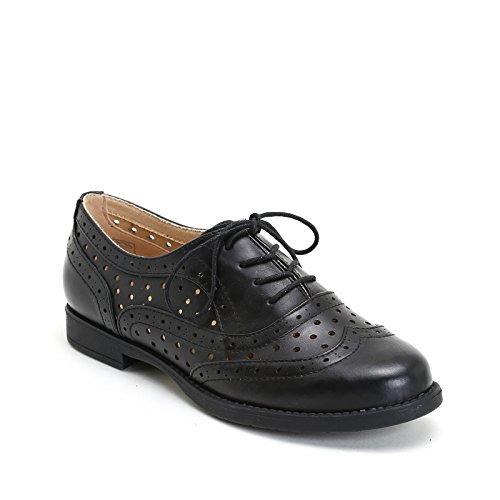 PRENDIMI by Scarpe&Scarpe - Zapatos acordonados con calado, Zapatos Planos Negro