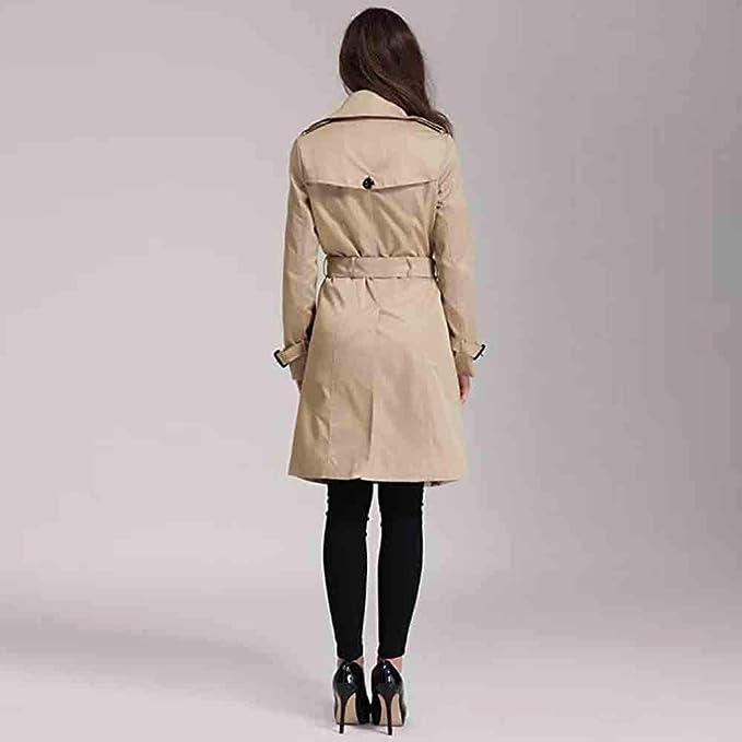 DEELIN Femmes Mode /Él/égant Slim Fit Trench Veste Revers Ceinture /à Double Boutonnage Long Style Veste Manteau Printemps Automne Outwear