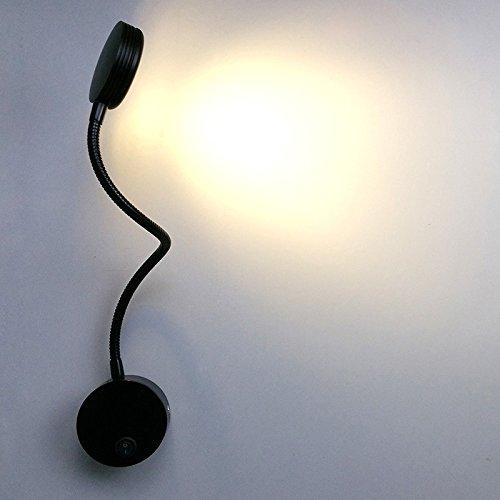 LUMINTURS(TM) 5W LED Wall Sconces Picture Spot Lamp Fixture Flexible Pipe Button Light Warm White