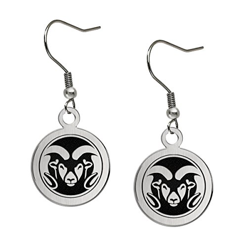 (Colorado State Rams Satin Finish Stainless Steel Disc Earrings)