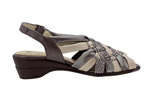 Calzado mujer confort de piel Piesanto 2562 sandalia zapato cómodo ancho Humo-Cava