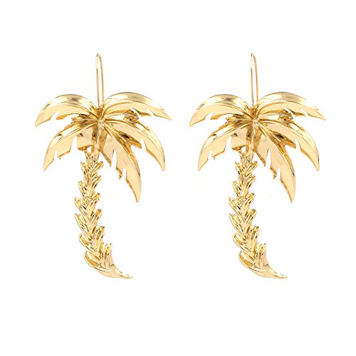 (MUZHE Stainless Steel Palm Coconut Tree Charm Pendant Necklace for Women,Cute Jewelry for Girls (Earrings+Gold))