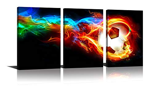 (Fire Soccer HD Canvas Print 3 Pieces Painting Wall Art Home Decor Panels Sport Themes Poster For Living Room Children Gift)