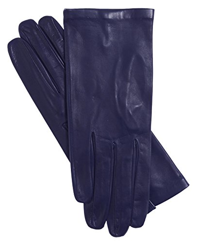 Fratelli Orsini Women's Italian Silk Lined Leather Gloves Size 7 1/2 Color 29-Navy