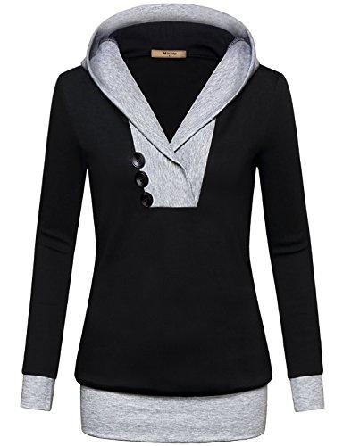 Tunic Sweatshirt,Miusey Women Long Sleeve Pullover Hit Color Kangaroo Pocket Top Hoodie Sweater T-shirt Medium Black ...