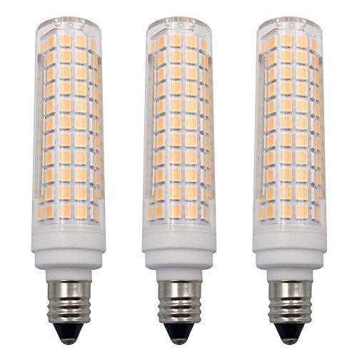 E11 LED Bulb Dimmable Warm White 3000K Light Bulbs 10W 100W Halogen Bulbs Equivalent Mini Candelabra Base AC120V E11 LED Light Bulbs for Chandeliers Ceiling Fan Light (3 Pack)