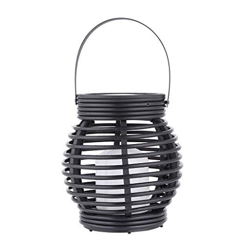 Iuhan Lantern Light Outdoor, Industrial Vintage Metal Cage Hanging Ceiling Pendant Light Holder Lamp Shade Rattan Flame Lamp (Black) by Iuhan  (Image #5)