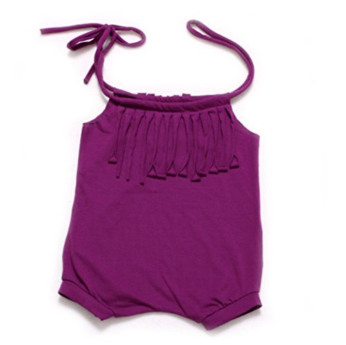 Baby Girl's Short Summer Romper With Fringe Tassel Tie Top (9-12 months, Dark Purple) (Robin Outfit For Babies)
