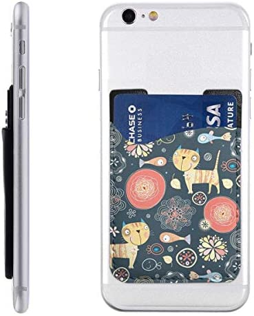 スマホカードホルダー スマートフォンポケット デコレーションシール シンジポ-チ カード収納 カードポーチ カードポケット 和柄 猫 魚 アニマル柄 カード入れ 財布ケース スマホケース 背面貼り付けカードポケット 貼るタイプ パースケース