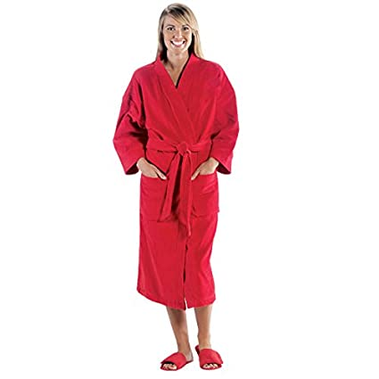 10ced933ec Image Unavailable. Image not available for. Color  NobleHomeShop Terry  Velour Kimono Robe (Red)