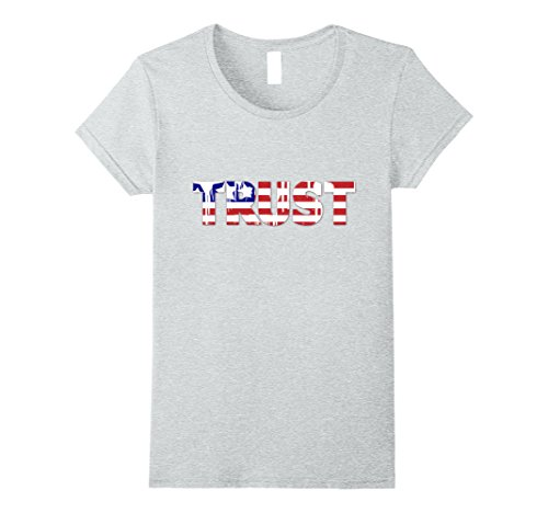 Womens 4Th Of July Independence Day Us Flag Trust T Shirt Tops Tees Large Heather Grey
