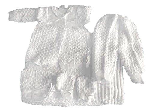 White 6 Pc Knit Crochet Popcorn Style Baby Set Blanket Pants Sweater Hat Booties