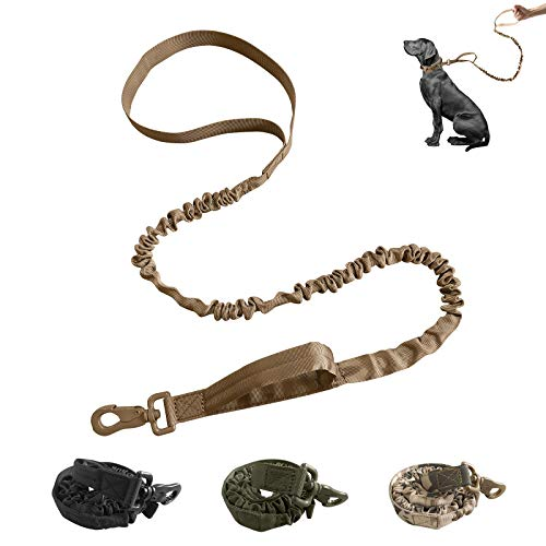 Military Dog Leash Tactical, Bungee Dog Leash with 2 Safety Control Handles, Service Dog Leash for Training,Hunting…
