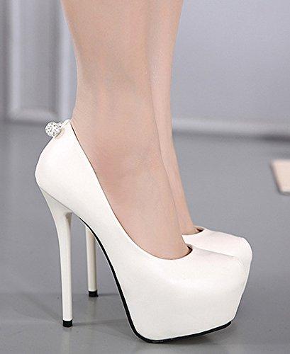 Shoes Spikes Slip Womens Pumps White Club Extreme Rhinestones Heels On Platform Sexy IDIFU Low Top w4qBOa