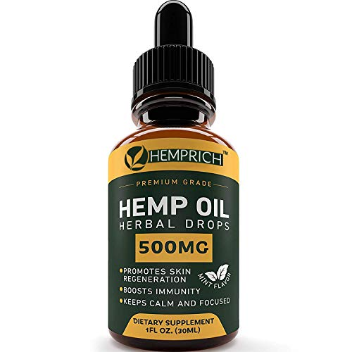 Hemp Oil 500 MG - Anxiety & Stress Relief - 100% Natural & Efficient - Made in USA - Immune Support - Anti Inflammatory - Deep Sleep & Good Mood - Ideal Omega 3, 6, 9 Source - Non GMO