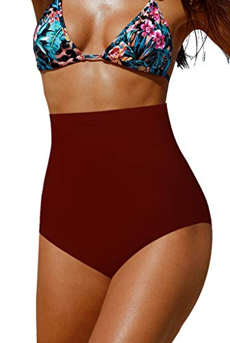 Upopby Women's High Waisted Swimsuit Bikini Bottoms Tummy Control Tankini Bottoms Swim Shorts Plus Size Red XXL