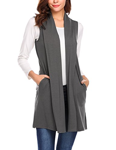 Beyove Women's Sleeveless Cardigan Vest Solid Open Front Long Cardigan Grey XXL