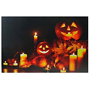 Northlight LED Lighted Halloween Jack-O-Lanterns Fall Harvest Canvas Wall Art 15.75″ x 23.5″