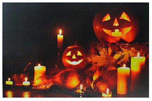 Northlight LED Lighted Halloween Jack-O-Lanterns Fall Harvest Canvas Wall Art 15.75