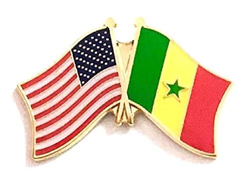 Pack of 3 Senegal & US Crossed Double Flag Lapel Pins, Senegalese & American Friendship Pin - Flag Senegal Colors