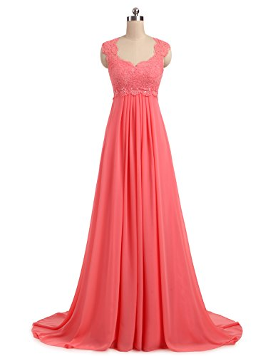 Erosebridal 2017 New Sleeveless Beach Chiffon Wedding Dress Bridal Evening Gown Size 20w Coral (Coral Lace Gown)