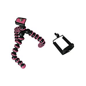 Mstar Octopus Style Portable And Adjustable Tripod Stand With Mount / Holder For iPhone, Cellphone 4/4S/5(Pink&Black)