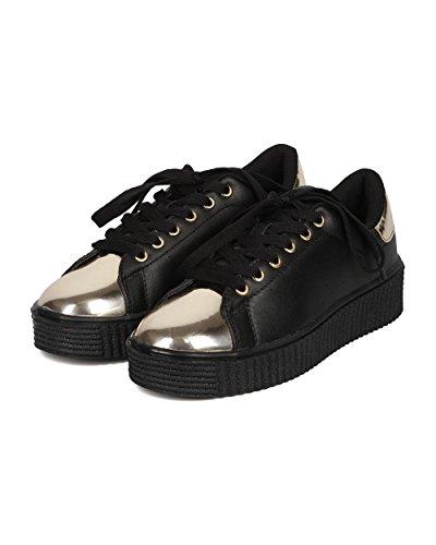 Cape Robbin Dames Kunstleer Flatform Sneaker - Platform Afgedekte Neus Sneaker - Two Tone Everyday Sneaker - Gh33 By Black