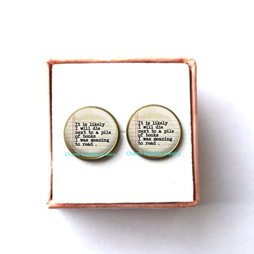 Quote Earrings - Book Lover Jewelry - Bookworm Earrings - Reading Quote,Charm Earrings,Reading Quote