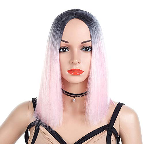 YOLANDE Ombre Pink Short Straight Wig Colorful Middle Part Heat Resistant Synthetic Fiber Full Wigs for Women Party Cosplay Wig with Dark Roots Natural Looking Wig(Black and Pink) ()
