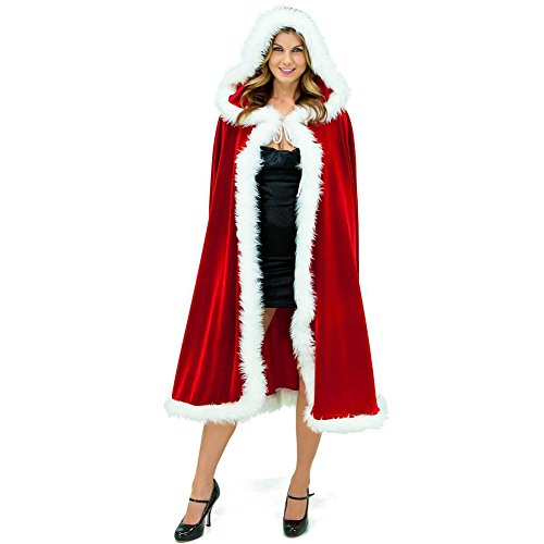 Women's Red Mrs Santa Claus Christmas Hooded Cape Cloak Outfit Clothes Cosplay