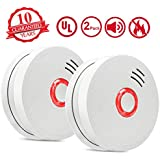 Smoke Alarm Fire Alarm,2 Pack Smoke Detector with Test Button 9V Battery Powered(Included) Photoelectric Smoke Alarms with UL Listed, Fire Safety for Bedroom,Kitchen,Corridor,Bathroom and Hotel