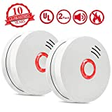 Smoke Alarm Fire Alarm,2 Pack Smoke Detector with Test Button 9V Battery Powered(Included)