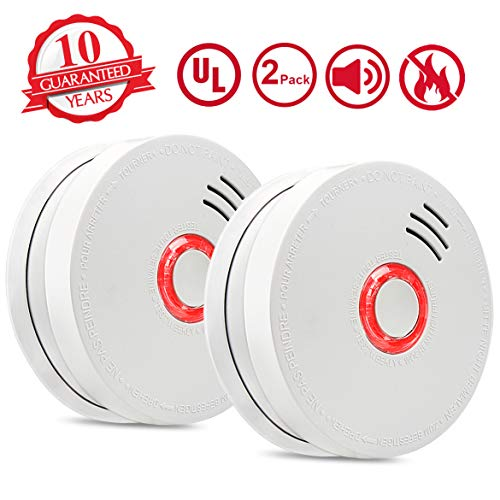 - Smoke Alarm Fire Alarm,2 Pack Smoke Detector with Test Button 9V Battery Powered(Included) Photoelectric Smoke Alarms with UL Listed, Fire Safety for Bedroom,Kitchen,Corridor,Bathroom and Hotel