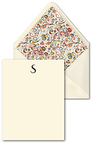 (K DESIGNS - HAND MADE STATIONERY - CORRESPONDENCE CARDS & DESIGNER ENVELOPES (Lined By Hand With Elegant Hand Made Specialty Paper) – Single Letter Monogram Flat Correspondence Cards [Size: A2] [Art Deco Parisian Design: Letter