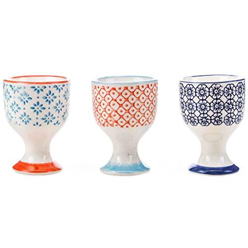 (Nicola Spring Patterned Egg Cups - Porcelain Breakfast Set Multipack - Pack of 3)