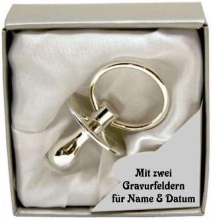 De la hermoso plateada los chupetes para bebés en una caja de regalo - chupete incluye inscripción del nombre y: Amazon.es: Bebé