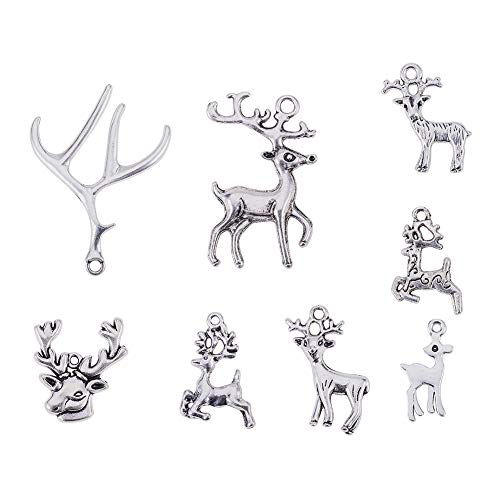 PH PandaHall 40pcs 8 Styles Tibetan Alloy Christmas Reindeer Stag Pendants Charms Animal Deer Antler Beads Charms for Christmas Day DIY Necklace Bracelet Making(Antique Silver)]()