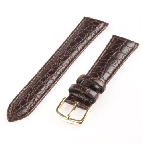 Republic Mens Crocodile Grain Leather Watch Strap, Brown, Size 18 MM Regular