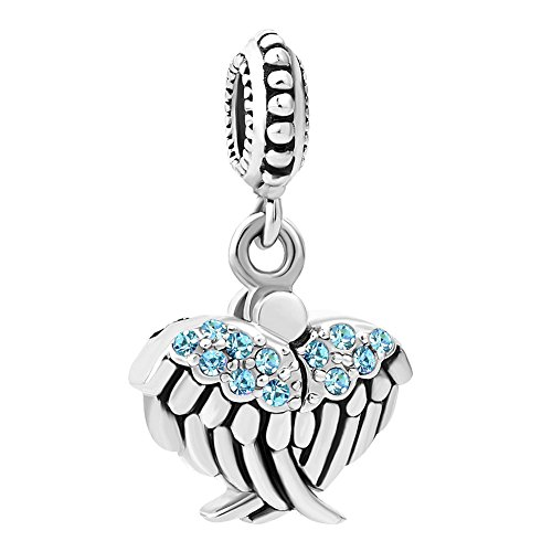 QueenCharms Open Angel Wings Charm Hope Star Beads for Charm Bracelets (Blue)