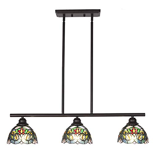 - VINLUZ Tiffany Chandeliers 3 Light Fixture Pendant 7.5-inch Shade Multi-Colored, Victorian Mid Century Dining Room Lighting Fixtures Hanging Adjustable Wire Semi Flush Ceiliing Light