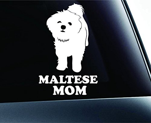 (Maltese Mom Symbol Decal Paw Print Dog Puppy Pet Family Breed Love Car Truck Sticker Window (White), Decal Sticker Vinyl Car Home Truck Window Laptop)