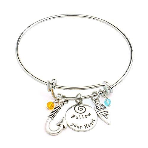 ow Your Heart Adjustable DIY Bracelet Message Charm Expandable Wire Bangle Bracelet ()