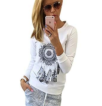 Sudaderas Largas Mujer Sudadera Pullover Cuello Redondo Sudaderas Estampadas Deportivas sin Capucha Chica Camisetas de Manga Larga Jerseys Dama Camisas ...